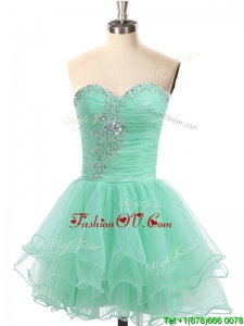 Latest A Line Organza Beaded Prom Dress in Apple Green