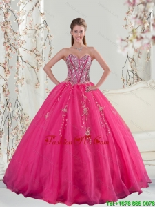 2015 Sweetheart Hot Pink Sequins and Appliques Prom Dresses