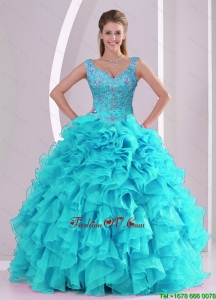 Most Popular Beading and Ruffles Quinceanera Dresses in Aqua Blue