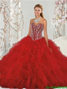 Most Popular Beading and Ruffles Red Dresses for Quinceanera