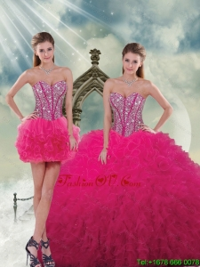 Unique Beading and Ruffles Dresses For Quince in Hot Pink