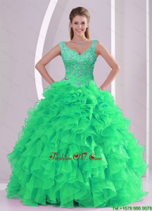 2015 Unique Spring Green Quinceanera Dresses with Beading and Ruffles