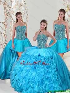 Detachable Aqua Blue Quinceanera Skirts with Beading and Ruffles for 2015