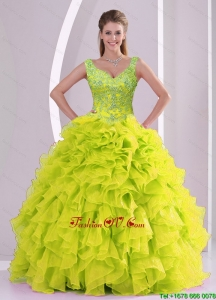 Detachable Beading and Ruffles Yellow Green Quince Quinceanera Skirts