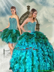 Detachable Multi Color Beading and Ruffles Sweet 15 Dresses for 2015