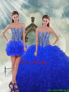 Detachable Royal Blue Quinceanera Skirts with Beading and Ruffles for 2015 Spring