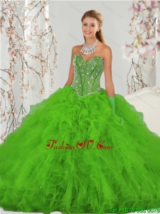 2015 Popular and Detachable Beading and Ruffles Spring Green Sweet 15 Dresses