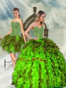 Detachable Beading and Ruffles Multi-color Dresses for Quince