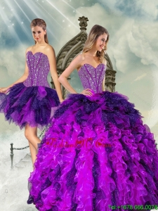 Detachable Multi Color Sweet 16 Dresses with Beading and Ruffles for 2015