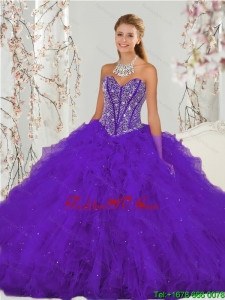 Exquisite and Detachable Purple Sweet 16 Dresses with Beading and Ruffles