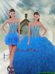 Pretty and Detachable Aqua Blue Sweet 16 Dresses with Beading and Ruffles