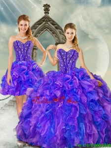 Pretty and Detachable Beading and Ruffles Quince Dresses in Purple and Blue for 2015