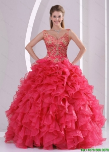 Pretty and Detachable Beading and Ruffles Quince Dresses in Red
