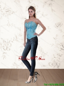 Cute Baby Blue Sweetheart Corset with Ruffles and Beading