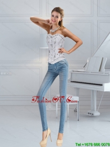 Popular Sweetheart White Corset with Ruffles and Beading