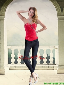 Wonderful Strapless Red Corset with Beading for 2015