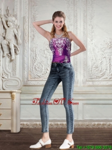 2015 Cute Strapless Embroidery and Beaded Corset in Dark Purple