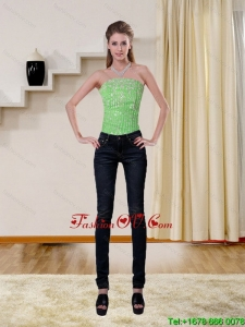 2015 New Style Spring Green Strapless Corset with Beading