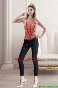 2015 New Style Strapless Corset with Beading and Appliques