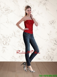 2015 The Most Popular Strapless Beaded Corset in Red