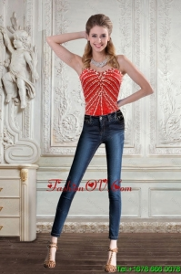New Style Sweetheart Coral Red Corset With Beading for 2015
