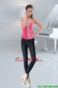 The Most Popular Sweetheart 2015 Hot Pink Corset with Beading