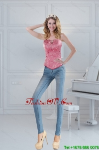 Wonderful Sweetheart Beading Coral Red Corset