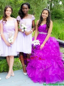 Beautiful Beaded and Ruffled Big Puffy Quinceanera Dress in Fuchsia
