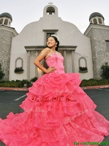 Beautiful Beaded and Ruffled Layers Quinceanera Dress with Brush Train