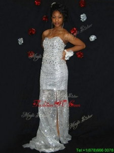 Delicate Empire Brush Train Sequins Prom Dress with Beading