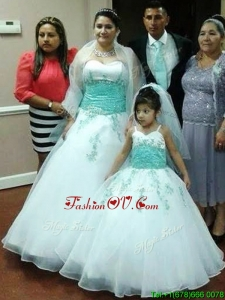 Exclusive Applique Big Puffy Quinceanera Dress in White and Apple Green