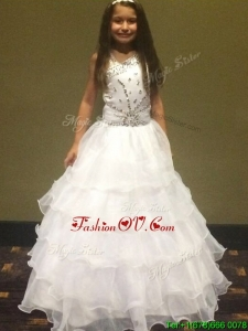Fashionable Beaded and Ruffled Layers Big Puffy Little Girl Pageant Dress in White