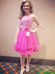 Fashionable One Shoulder Hot Pink Prom Dress with Beading