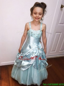 Gorgeous Beaded and Bowknot A Line Little Girl Pageant Dress with Straps