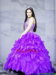 Gorgeous Brush Train Quinceanera Dress with Beading and Ruffles