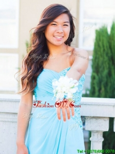 Gorgeous One Shoulder Beading Prom Dress in Light Blue