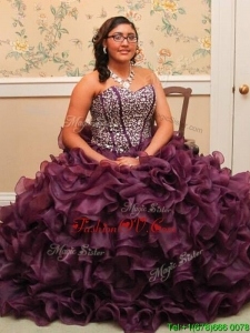 Most Popular Beaded and Ruffled Purple Quinceanera Dress with Brush Train