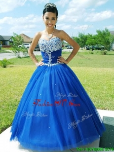Romantic Really Puffy Floor Length Blue Quinceanera Dress with Beading