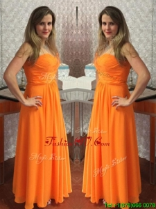 Simple Orange Empire Floor Length Prom Dress with Ruching