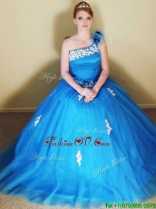 Sophisticated Applique and Hand Made Flowers Quinceanera Dress with One Shoulde