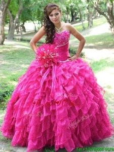 Brand New Really Puffy Hot Pink Quinceanera Dress with Appliques and Ruffled Layers