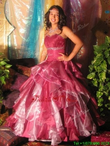 Customized Beaded and Ruffled Quinceanera Dress in Two Tone
