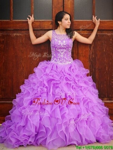 Exclusive Beaded and Ruffled Brush Train Quinceanera Dress with See Through Scoop