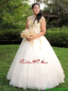 New Arrivals See Through High Neck Quinceanera Dress with Beading and Appliques