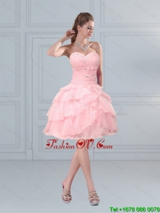 2015 Cute Baby Pink Sweetheart Prom Gown with Ruffled Layers and Beading