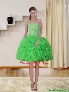 2015 Spring Green Strapless Prom Dresses with Beading and Ruffles
