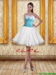 2015 White Sweetheart Prom Dresses with Blue Embroidery