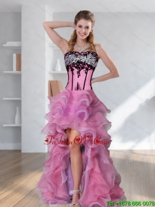 2015 Zebra Printed Strapless High-low Rose Pink Prom Dresses with Embroidery