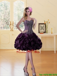 Burgundy Sweetheart Prom Dress with Ruffled Layers and Beading