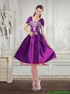 Purple Strapless Embroidery and Beading Prom Dresses with Cap Sleeves